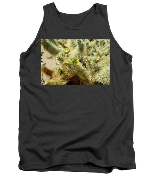 Flowering Cholla Cactus - Joshua Tree National Park Tank Top by Glenn McCarthy
