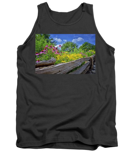 Flowers Along A Wooden Fence Tank Top by Steve Hurt