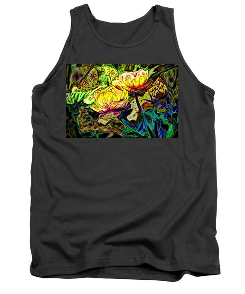 Flowers And Butterfly Tank Top by Carol Crisafi