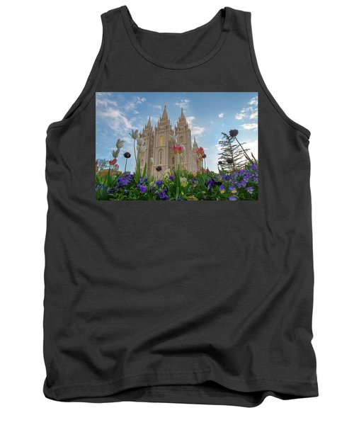 Tank Top featuring the photograph Flowers At Temple Square by Dustin  LeFevre
