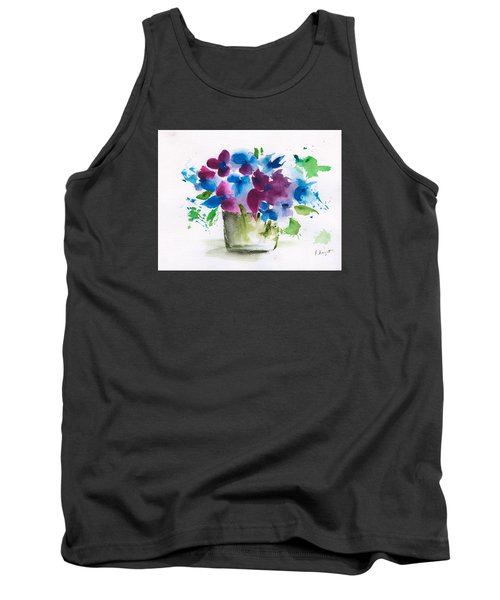 Flowers In A Glass Vase Abstract Tank Top by Frank Bright