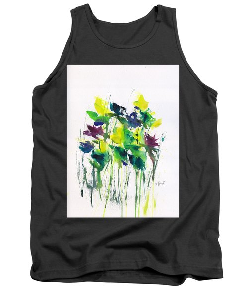 Flowers In Grass Abstract Tank Top