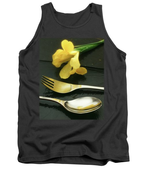 Flowers On Slate Tank Top by Jon Delorme