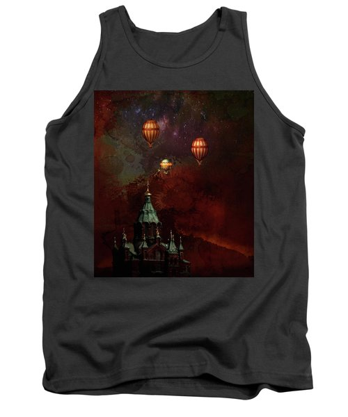 Tank Top featuring the digital art Flying Balloons Over Stockholm by Jeff Burgess