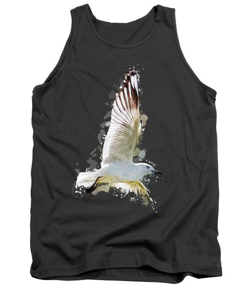 Flying Seagull Abstract Sky Tank Top by Elaine Plesser