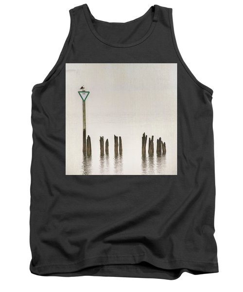 Tank Top featuring the photograph Foggy Morning Texture Keyport Harbor by Gary Slawsky