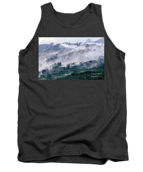 Foggy Mountain Of Sa Pa In Vietnam Tank Top