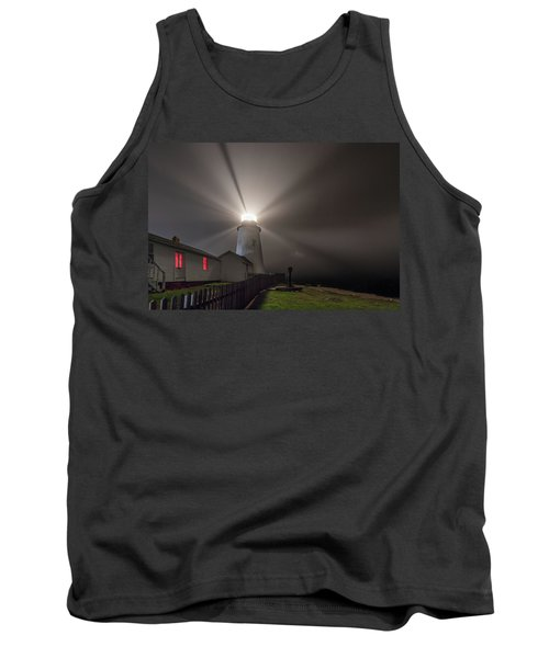 Foggy Night At Pemaquid Point Lighthouse Tank Top