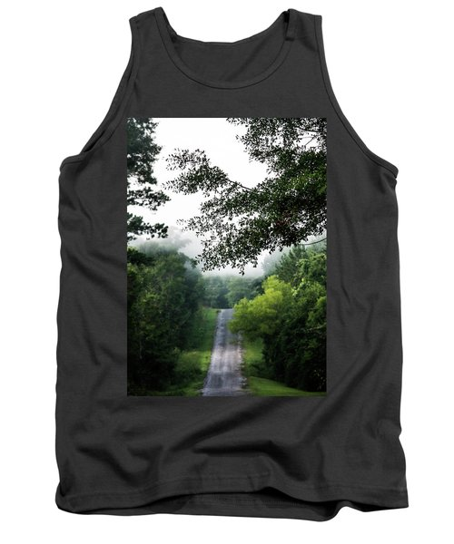 Tank Top featuring the photograph Foggy Road To Eternity  by Shelby Young