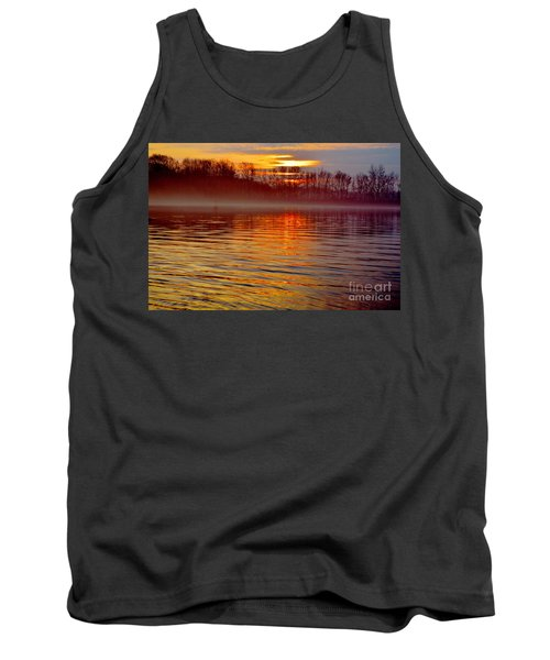 Foggy Sunrise At The Delaware River Tank Top
