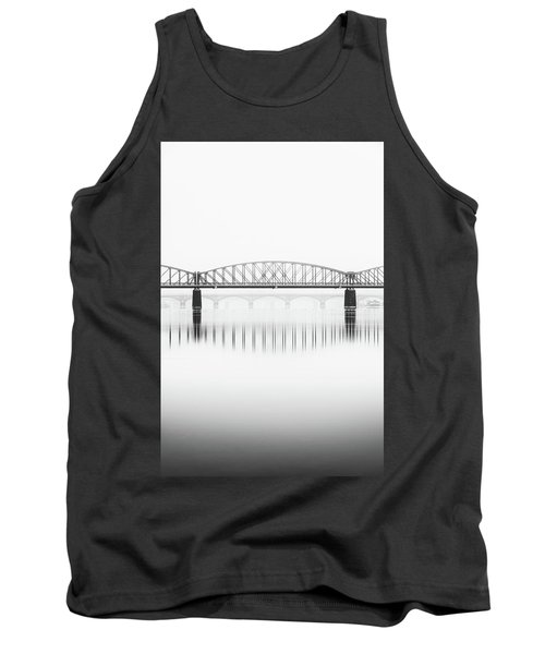 Foggy Winter Mood At Vltava River. Reflection Of Bridges In Water. Black And White Atmosphere, Prague, Czech Republic Tank Top