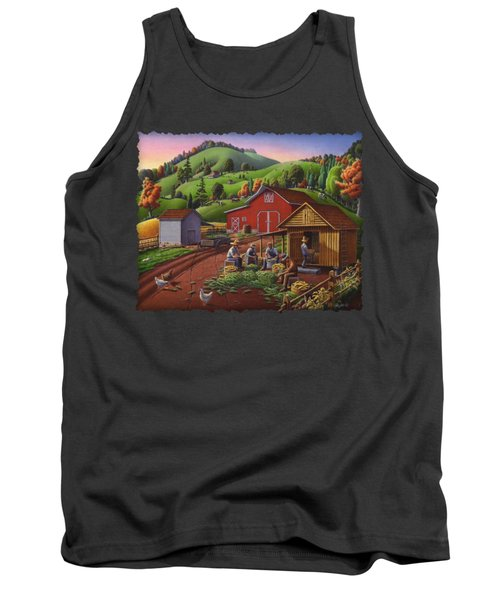 Folk Art Americana - Farmers Shucking Harvesting Corn Farm Landscape - Autumn Rural Country Harvest  Tank Top