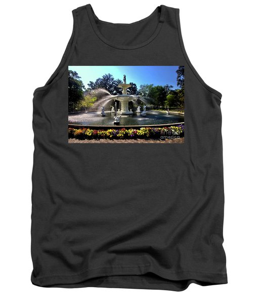 Forsyth Fountain In Spring Tank Top