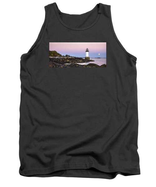 Fort Pickering Lighthouse, Harvest Supermoon, Salem, Ma Tank Top by Betty Denise
