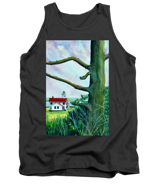 Fort Worden Lighthouse With Tree Tank Top