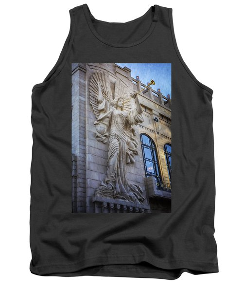 Tank Top featuring the photograph Fort Worth Impressions Bass Hall Angel by Joan Carroll