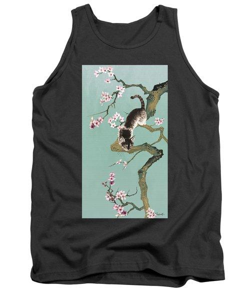Fortune Cat In Cherry Tree Tank Top