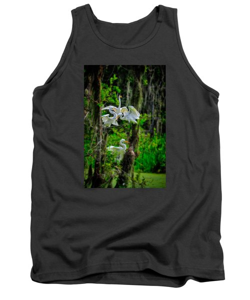 Four Egrets In Tree Tank Top