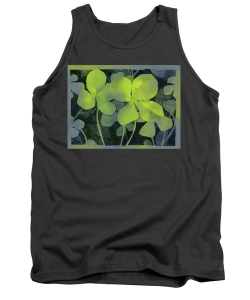 Four Leaf Clover Watercolor Tank Top