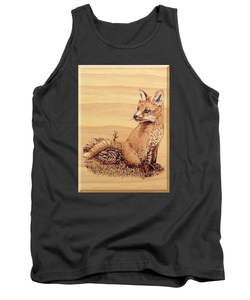 Tank Top featuring the pyrography Fox Pup by Ron Haist