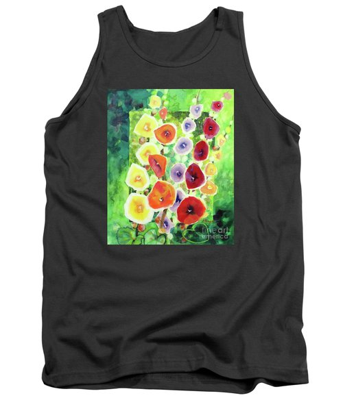 Tank Top featuring the painting Framed In Hollyhocks by Kathy Braud