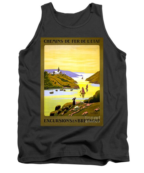 France Bretagne Vintage Travel Poster Restored Tank Top