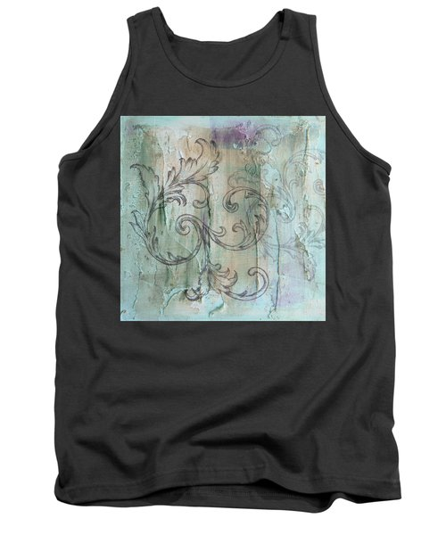 French Country Scroll In Muted Blue Tank Top