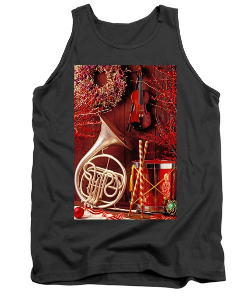 French Horn Christmas Still Life Tank Top