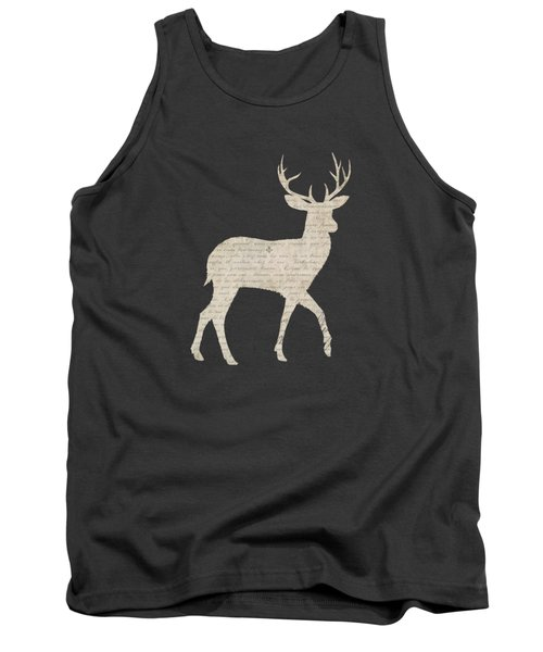 French Script Stag Tank Top by Amanda Lakey