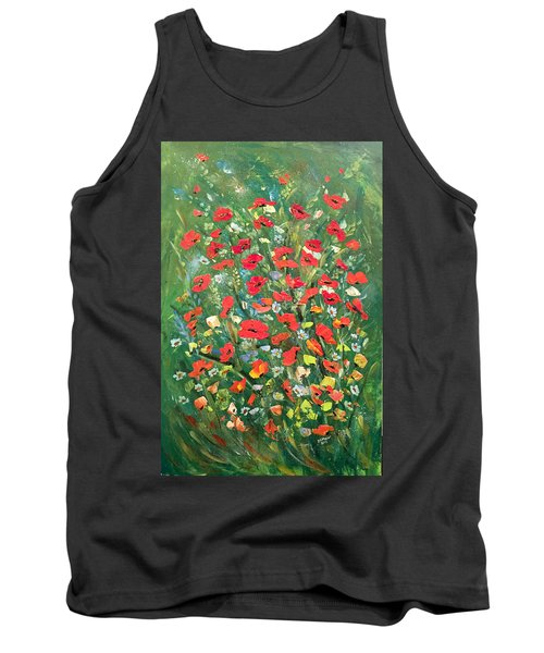 Tank Top featuring the painting Fresh Poppies From The Garden by Dorothy Maier