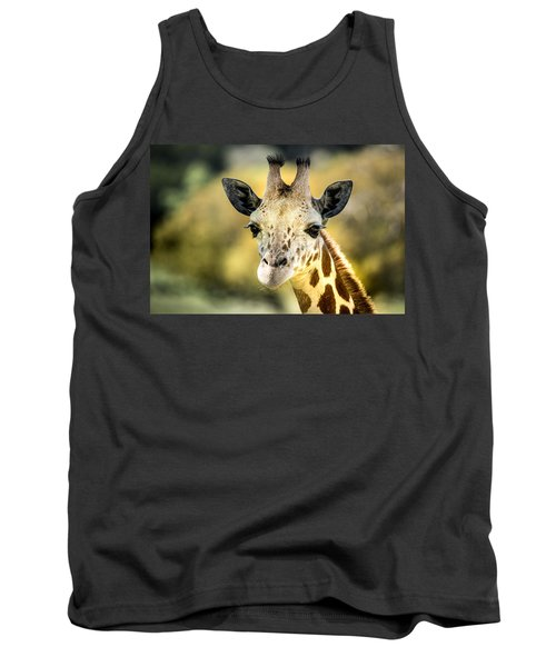 Tank Top featuring the photograph Friendly Giraffe Portrait by Janis Knight