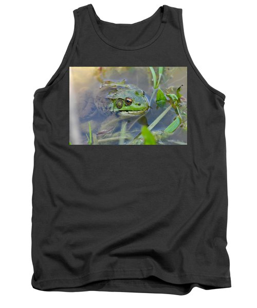Frog Hiding In The Pond Tank Top by Lisa DiFruscio