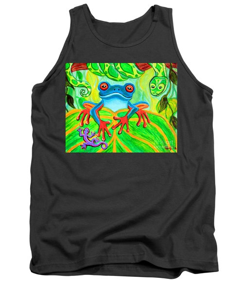 Frog Snake And Gecko In The Rainforest Tank Top by Nick Gustafson