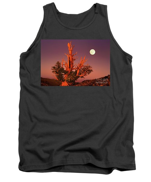 Tank Top featuring the photograph Full Moon Behind Ancient Bristlecone Pine White Mountains California by Dave Welling