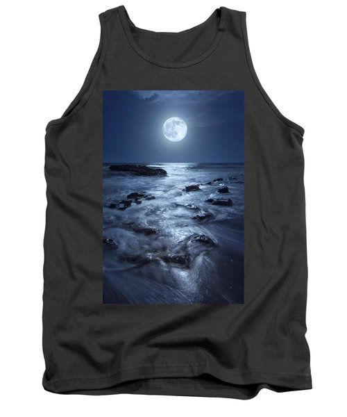 Tank Top featuring the photograph Full Moon Rising Over Coral Cove Beach In Jupiter, Florida by Justin Kelefas