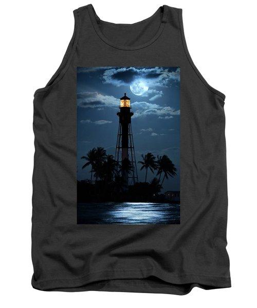 Full Moon Rising Over Hillsboro Lighthouse In Pompano Beach Florida Tank Top