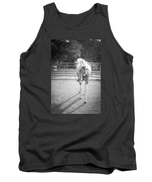 Funny Horse In Black And White Tank Top