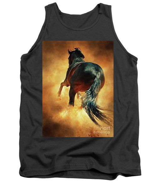 Galloping Horse In Fire Dust Tank Top