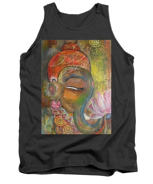 Ganesha With A Pink Lotus Tank Top by Prerna Poojara