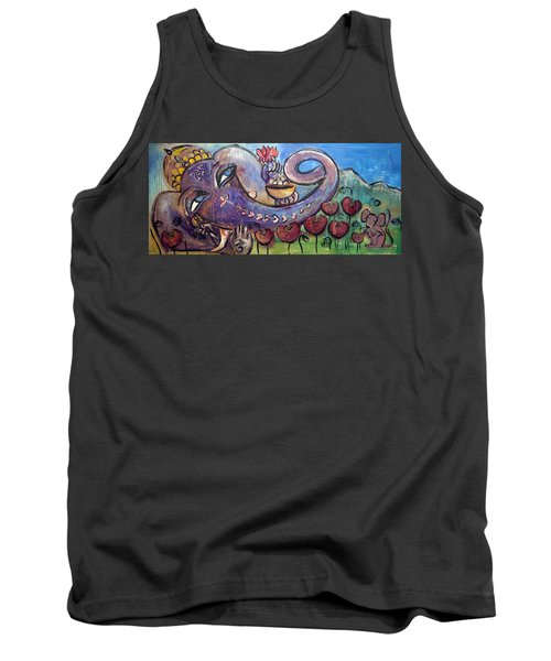 Ganesha With Poppies Tank Top