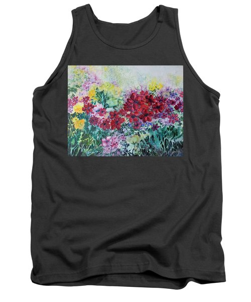Garden With Reds Tank Top by Joanne Smoley