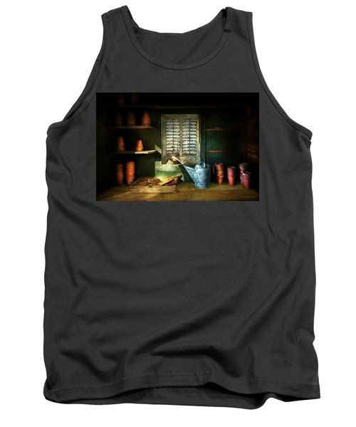 Tank Top featuring the photograph Gardener - The Potters Shed by Mike Savad