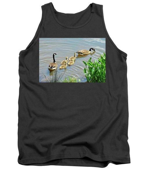 Geese And Goslings Tank Top by Ludwig Keck