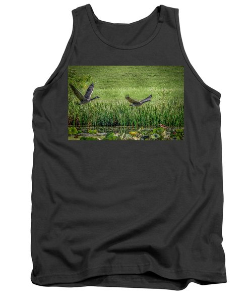 Geese In Flight Tank Top by Ray Congrove