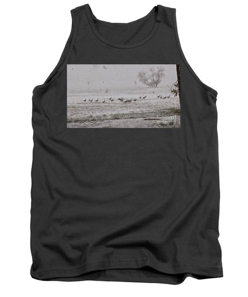 Geese Walking In The Snow Tank Top