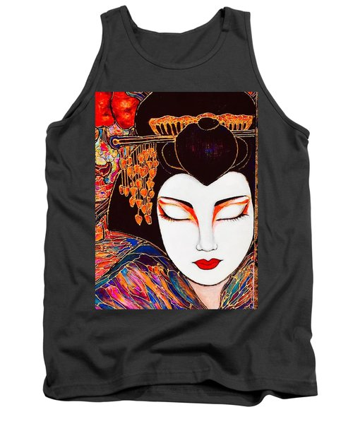 Tank Top featuring the painting Geisha by Rae Chichilnitsky