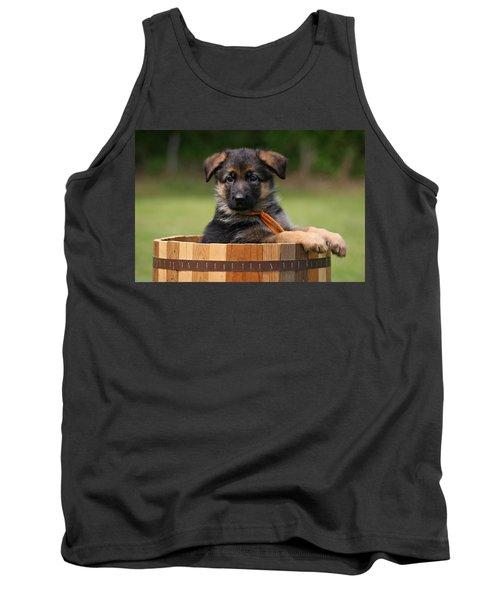 German Shepherd Puppy In Planter Tank Top