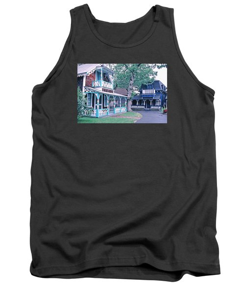 Tank Top featuring the photograph Gingerbread Houses Oak Bluff Martha's Vineyard by Tom Wurl