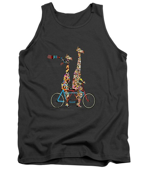 Tank Top featuring the painting Giraffe Days Lets Tandem by Bri B