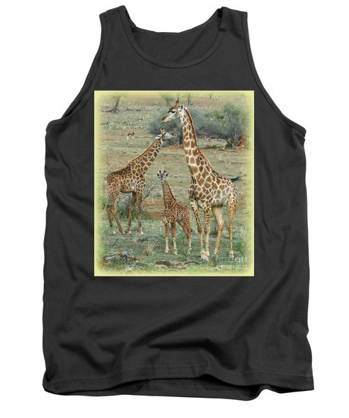 Giraffe Family Tank Top by Myrna Bradshaw